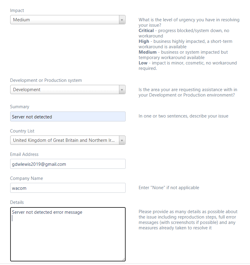Basic Support Request Input Form, 1 of 2