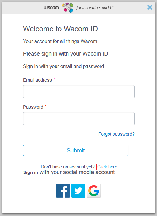 Wacom ID Login WIndow